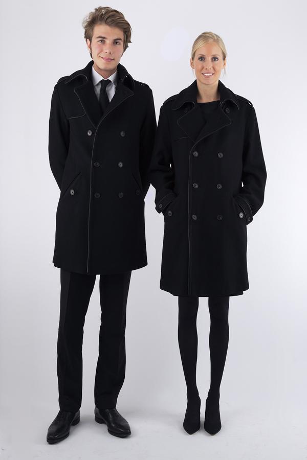 Manteau noir femme et homme